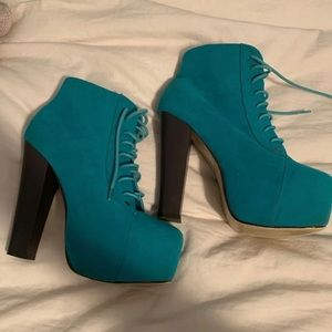 Shoes - Blue Heeled Booties